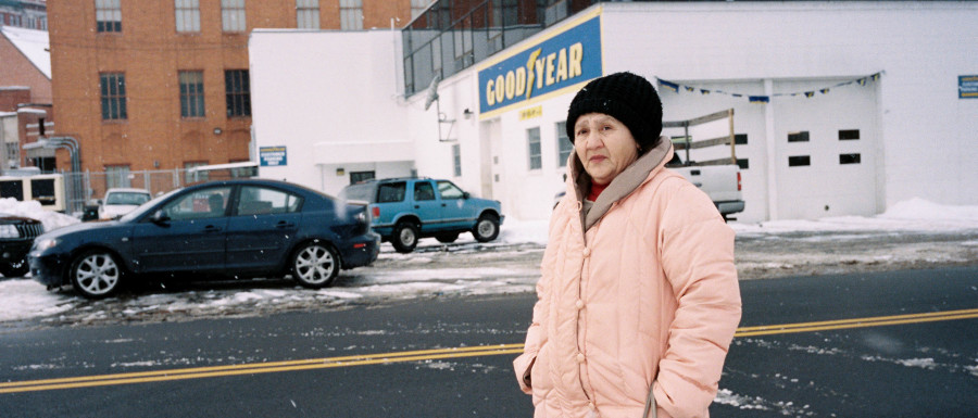 Color Street Photography of a woman in Binghamton, NY in January