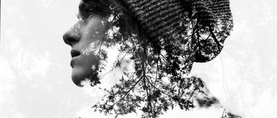 A Forest Portrait Double-Exposure of Stacy Baum in Upstate New York