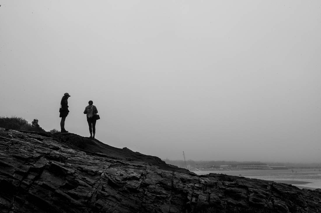 Silhouettes on the rocks of Perkins Cove
