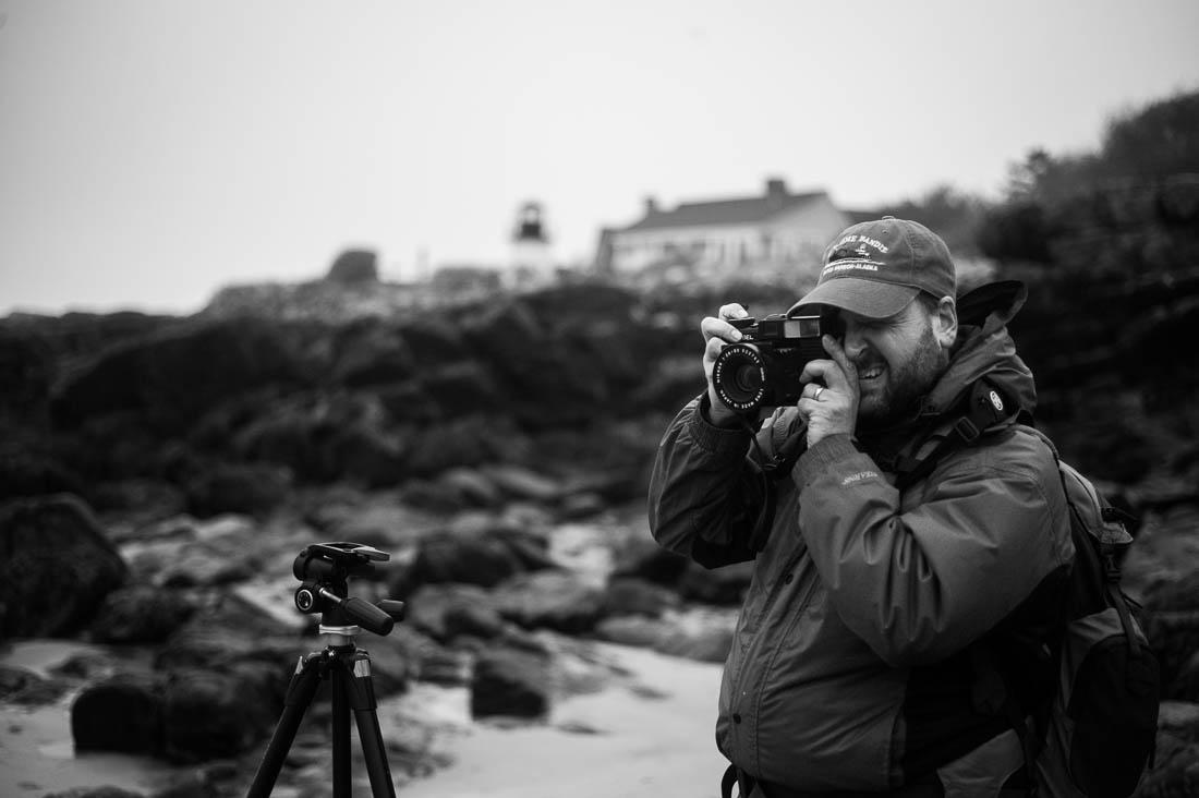 Ray Larose shooting a Plaubel Makina at Perkins Cove