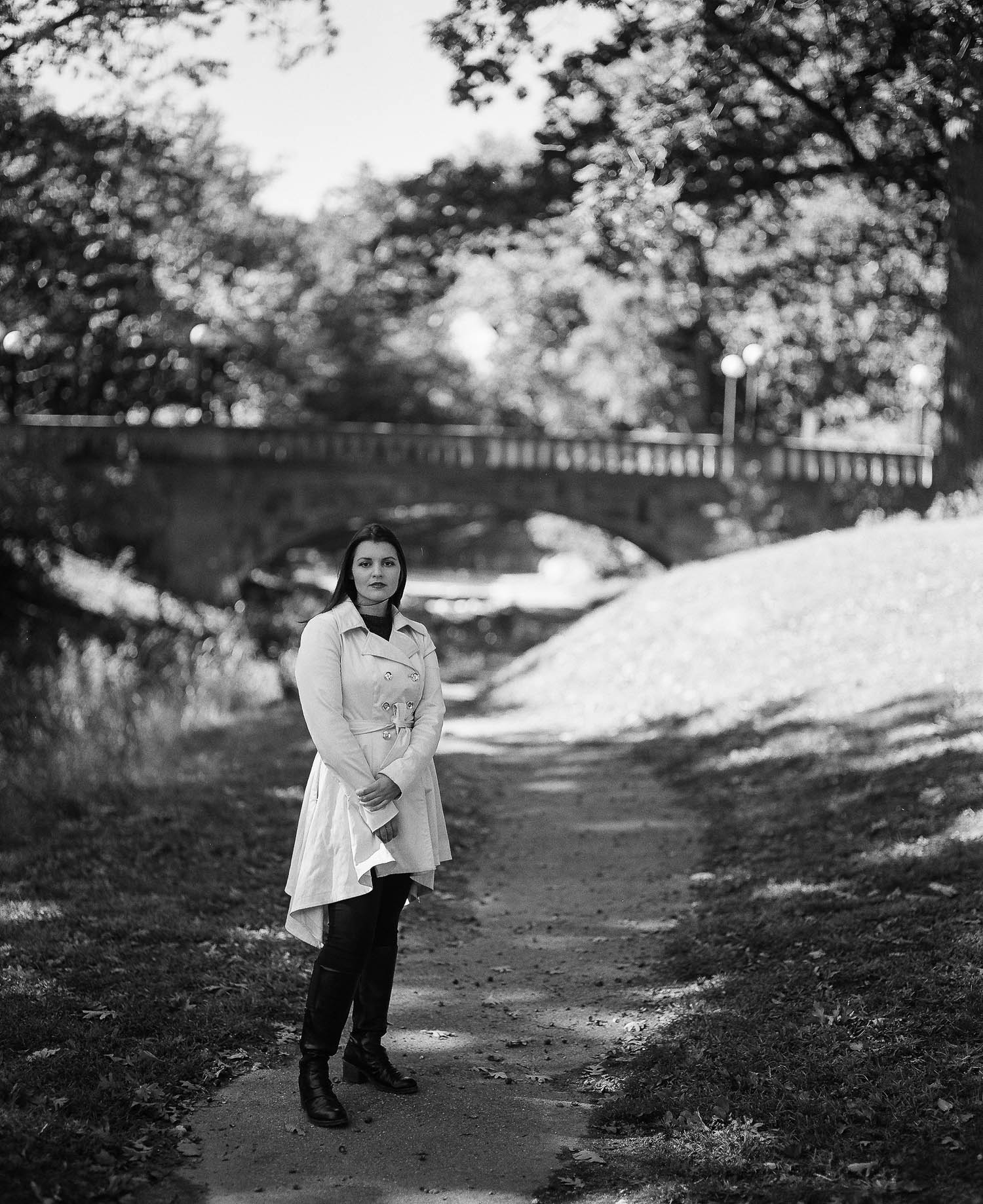 Whitney in front of the bridge of Deering Oaks Park