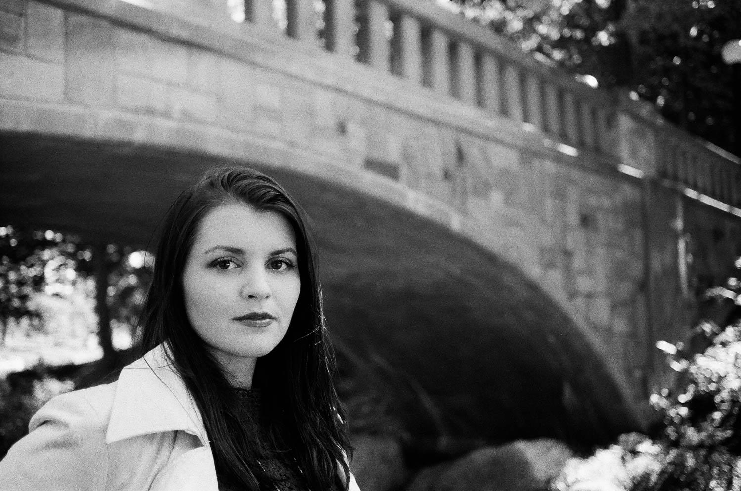 A girl below the Deering Oaks bridge
