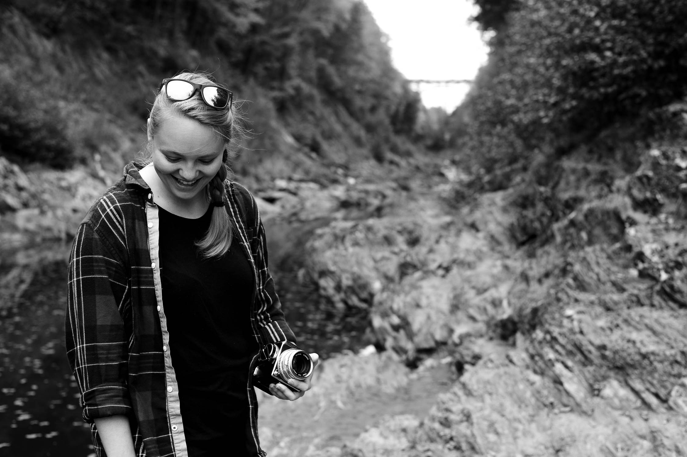 Amanda with a Hasselblad at Quechee Gorge