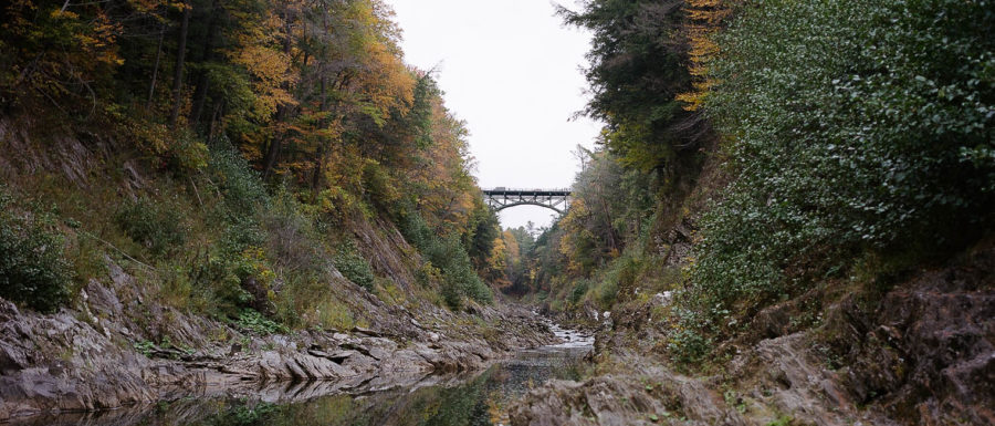 The bridge from the water's edge at Quechee Gorge