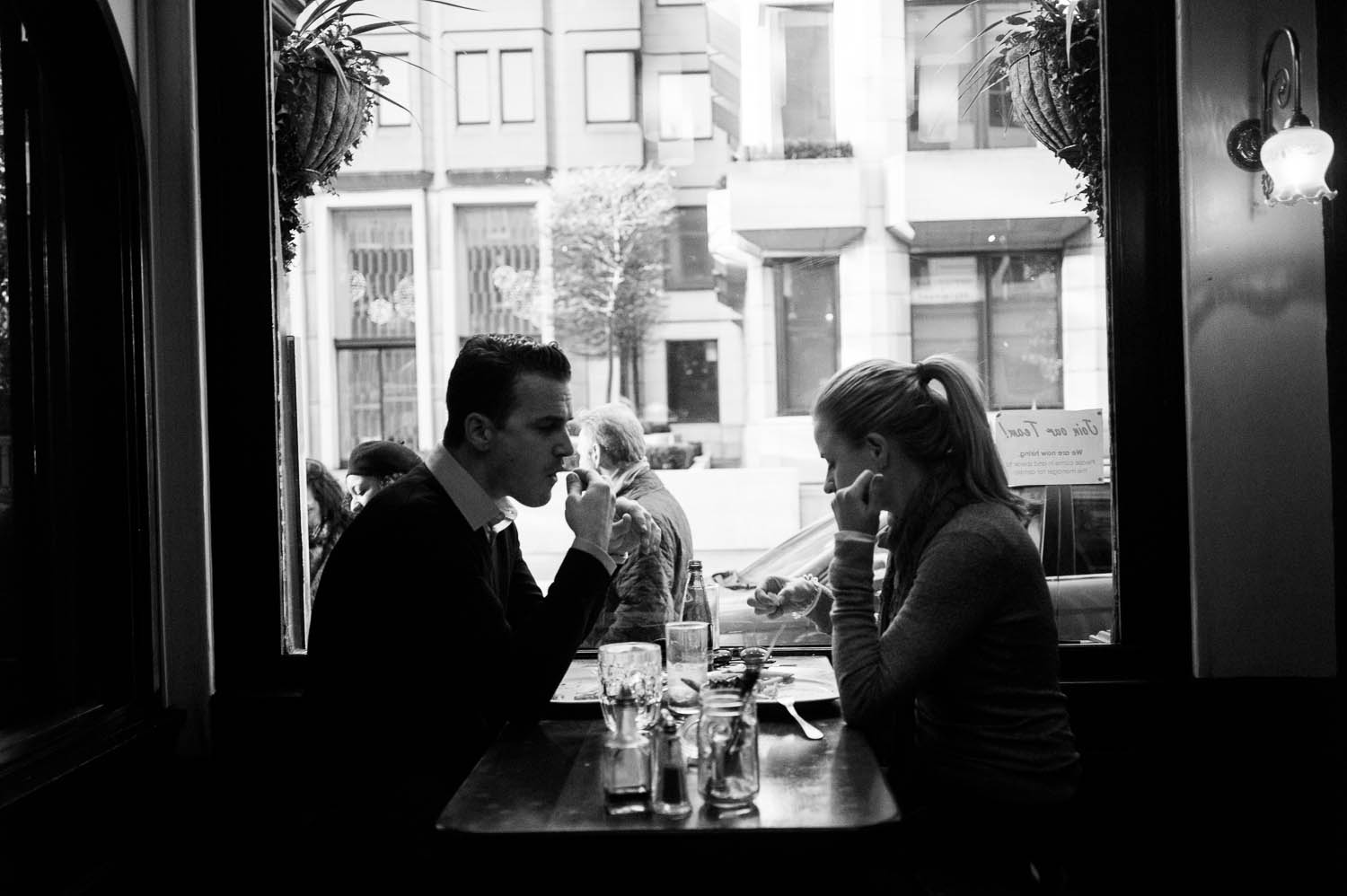 A couple dining at a pub in London