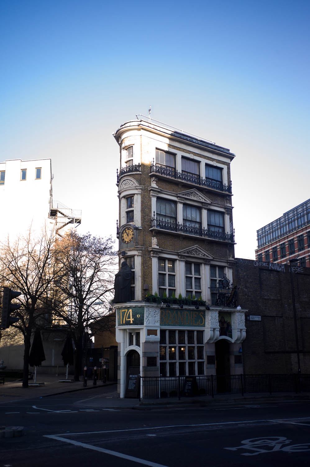 A narrow pub building near Blackfriars Station in London