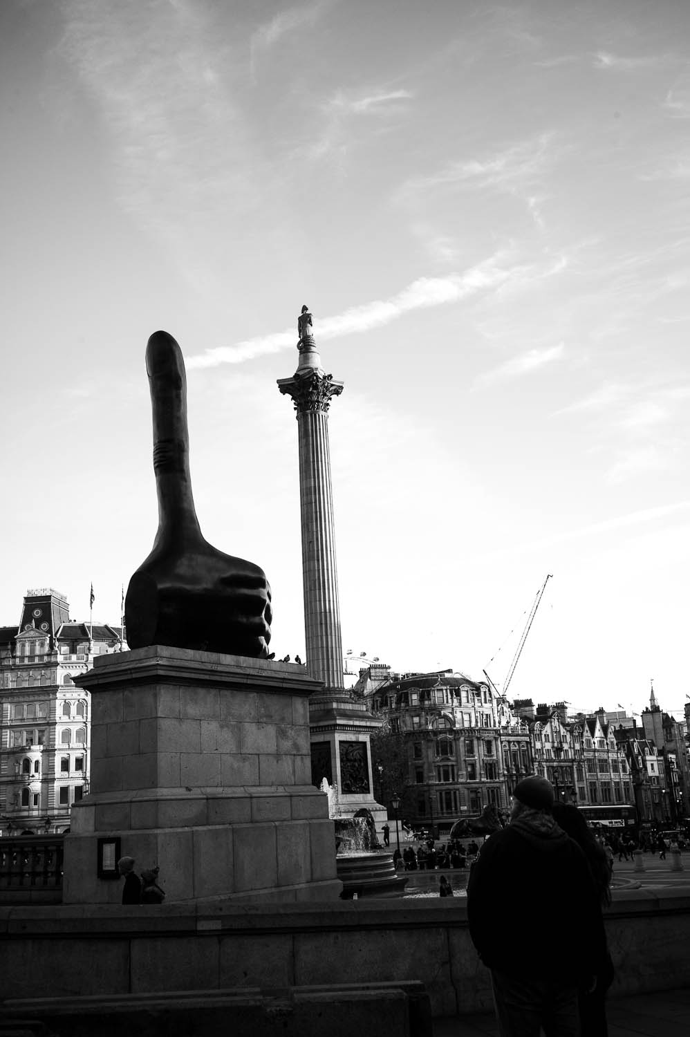 A thumbs up statue outside a museum in London