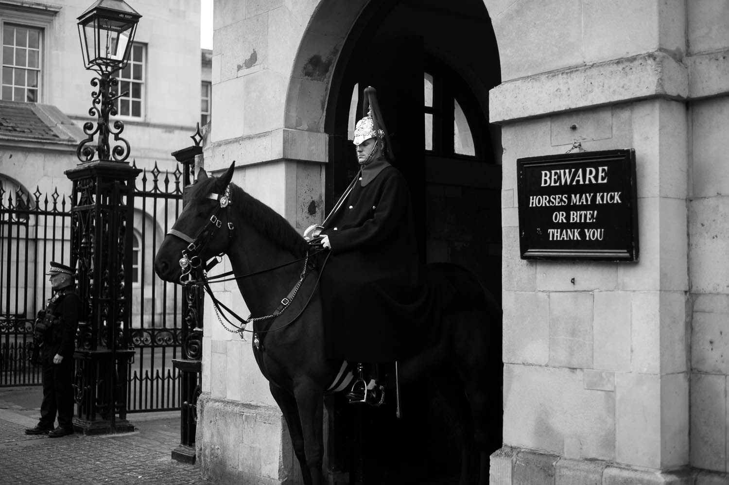 An officer seated on horseback in London