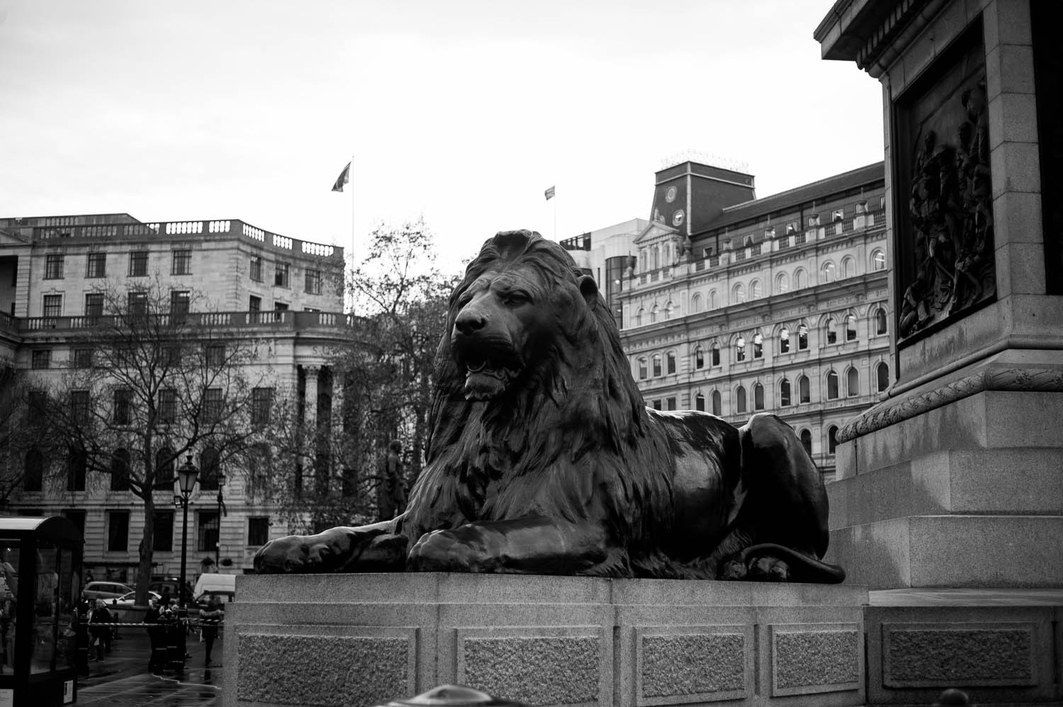 A lion statue in London