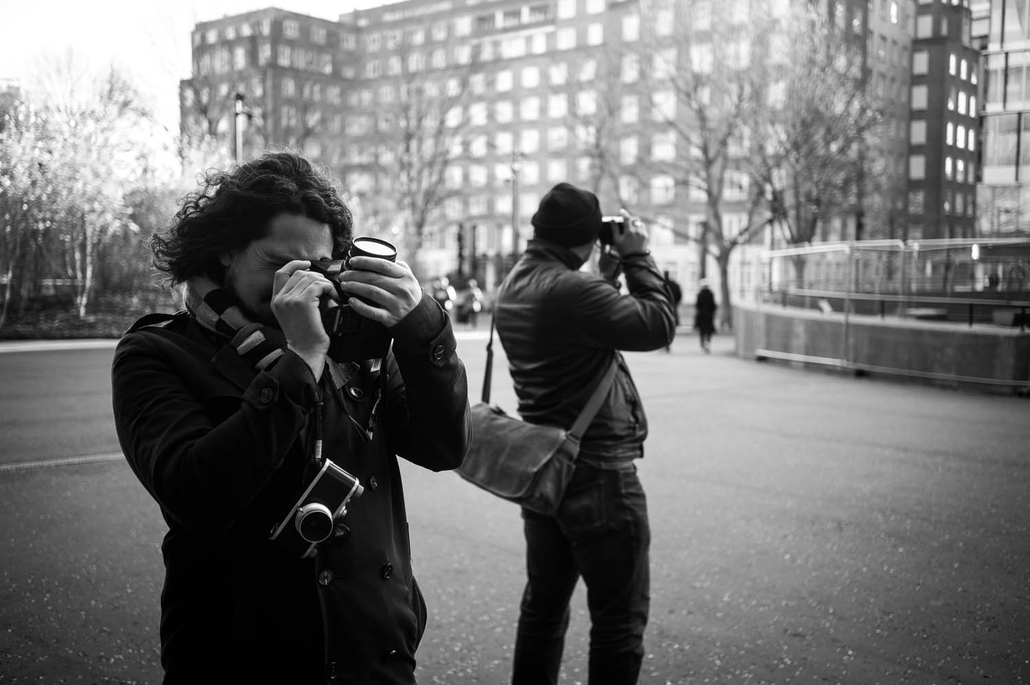Richard Davies and Martin Smith photograph London with a Bronica-SQ and a Leica M6