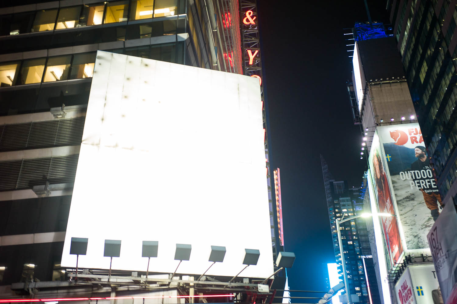 An empty billboard in Times Square