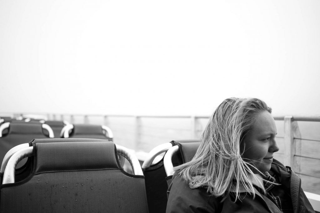 Amanda Vogler sitting on the ferry to Nantucket