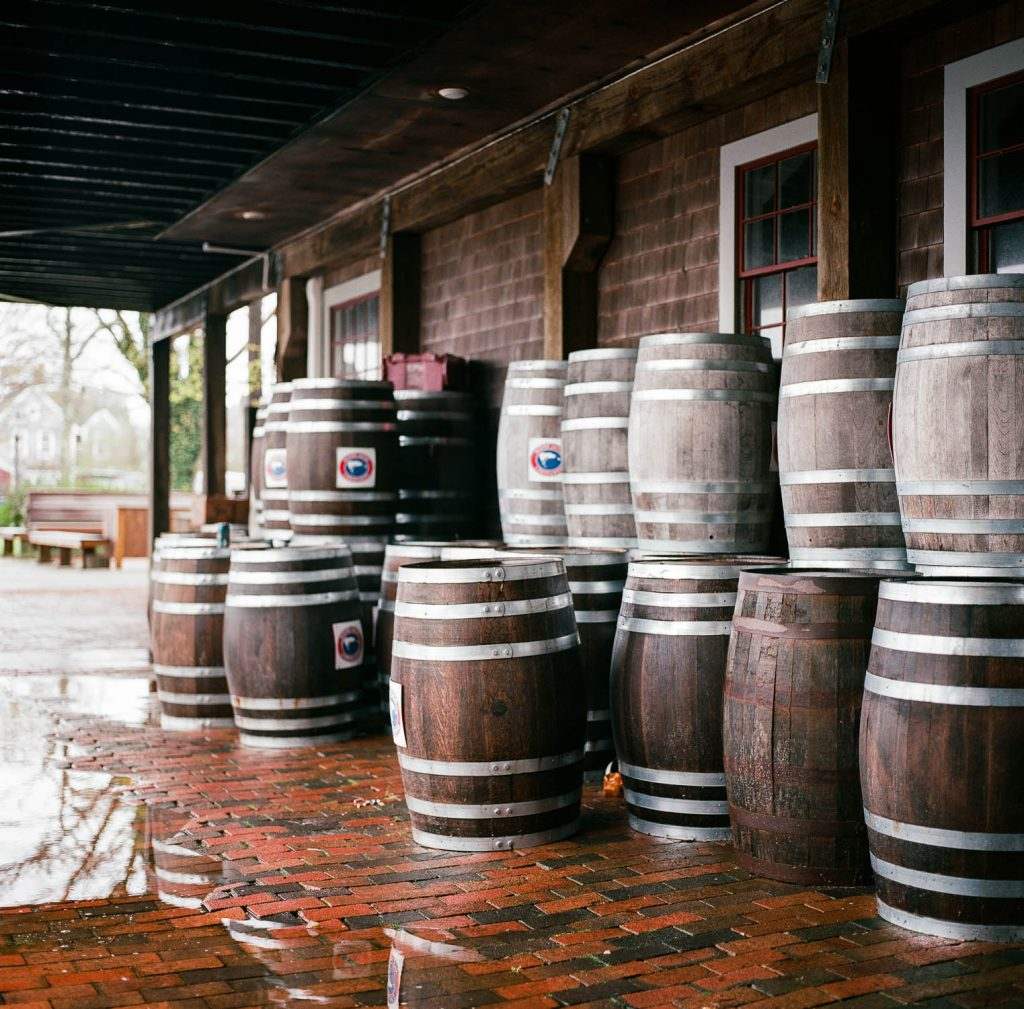 An assortment of barrels in Nantucket, MA