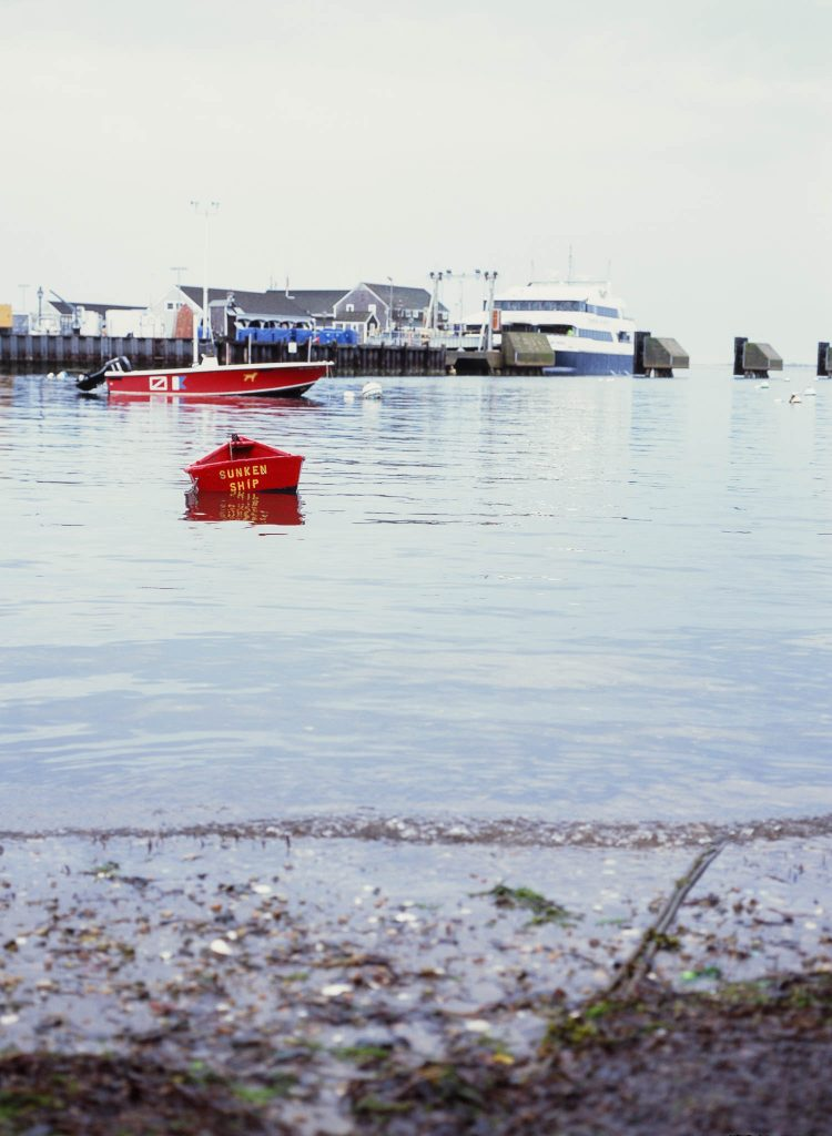 A red boat in Nantucket