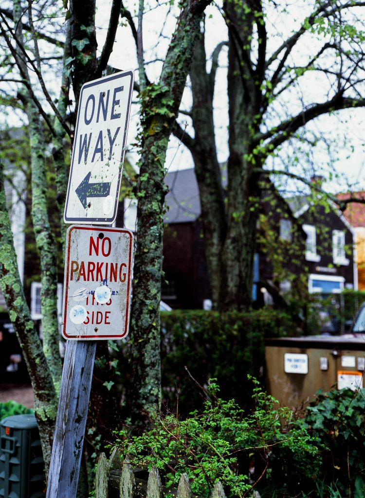 Street signs near mossy trees in Nantucket, MA. Bronica ETRSi / Velvia 100