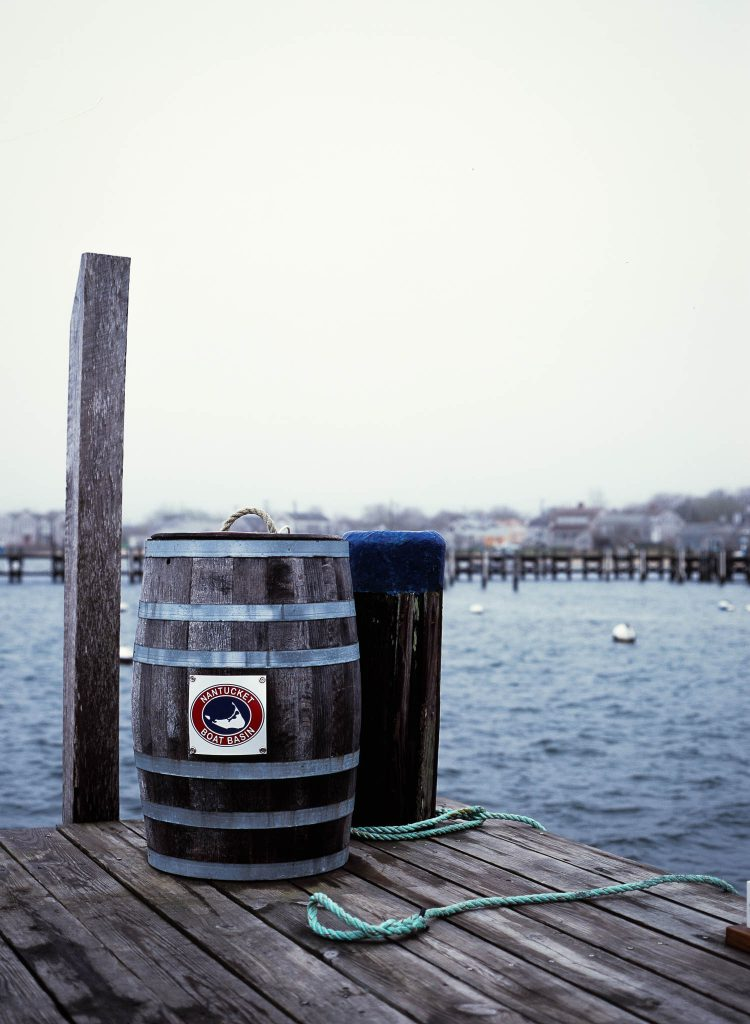 A barrel on a dock in Nantucket